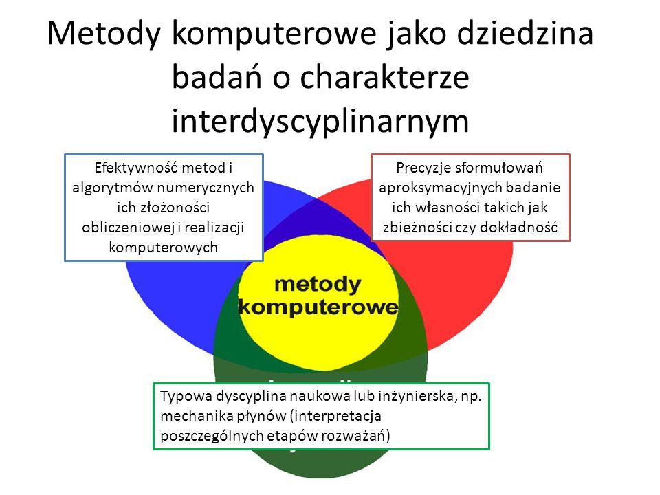 Metody komputerowe jako dziedzina badań o charakterze interdyscyplinarnym Efektywność metod i algorytmów numerycznych ich złożoności obliczeniowej i realizacji komputerowych Precyzje sformułowań aproksymacyjnych badanie ich własności takich jak zbieżności czy dokładność Typowa dyscyplina naukowa lub inżynierska, np.