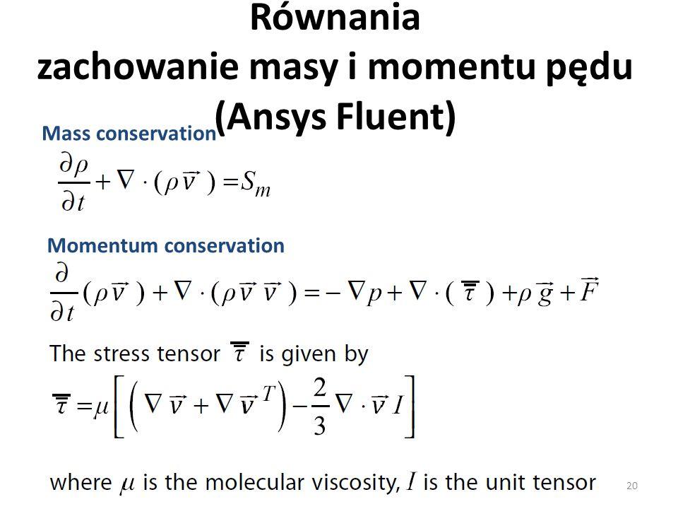 Równania zachowanie masy i momentu pędu (Ansys Fluent) Mass conservation Momentum conservation 20