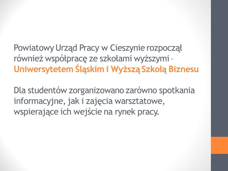 Powiatowy Urząd Pracy w Cieszynie rozpoczął również współpracę ze szkołami wyższymi – Uniwersytetem Śląskim i Wyższą Szkołą Biznesu Dla studentów zorganizowano zarówno spotkania informacyjne, jak i zajęcia warsztatowe, wspierające ich wejście na rynek pracy.