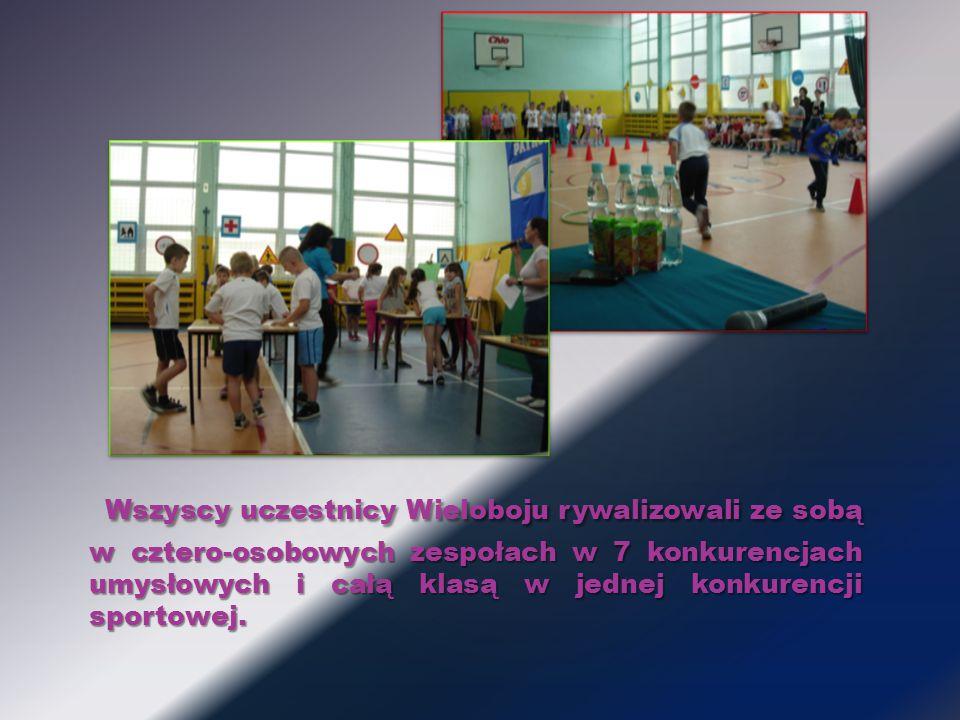 Wszyscy uczestnicy Wieloboju rywalizowali ze sobą w cztero-osobowych zespołach w 7 konkurencjach umysłowych i całą klasą w jednej konkurencji sportowej.