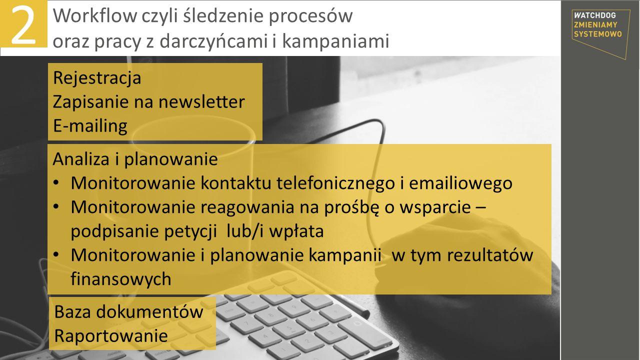 2 Analiza i planowanie Monitorowanie kontaktu telefonicznego i emailiowego Monitorowanie reagowania na prośbę o wsparcie – podpisanie petycji lub/i wpłata Monitorowanie i planowanie kampanii w tym rezultatów finansowych Rejestracja Zapisanie na newsletter E-mailing Baza dokumentów Raportowanie