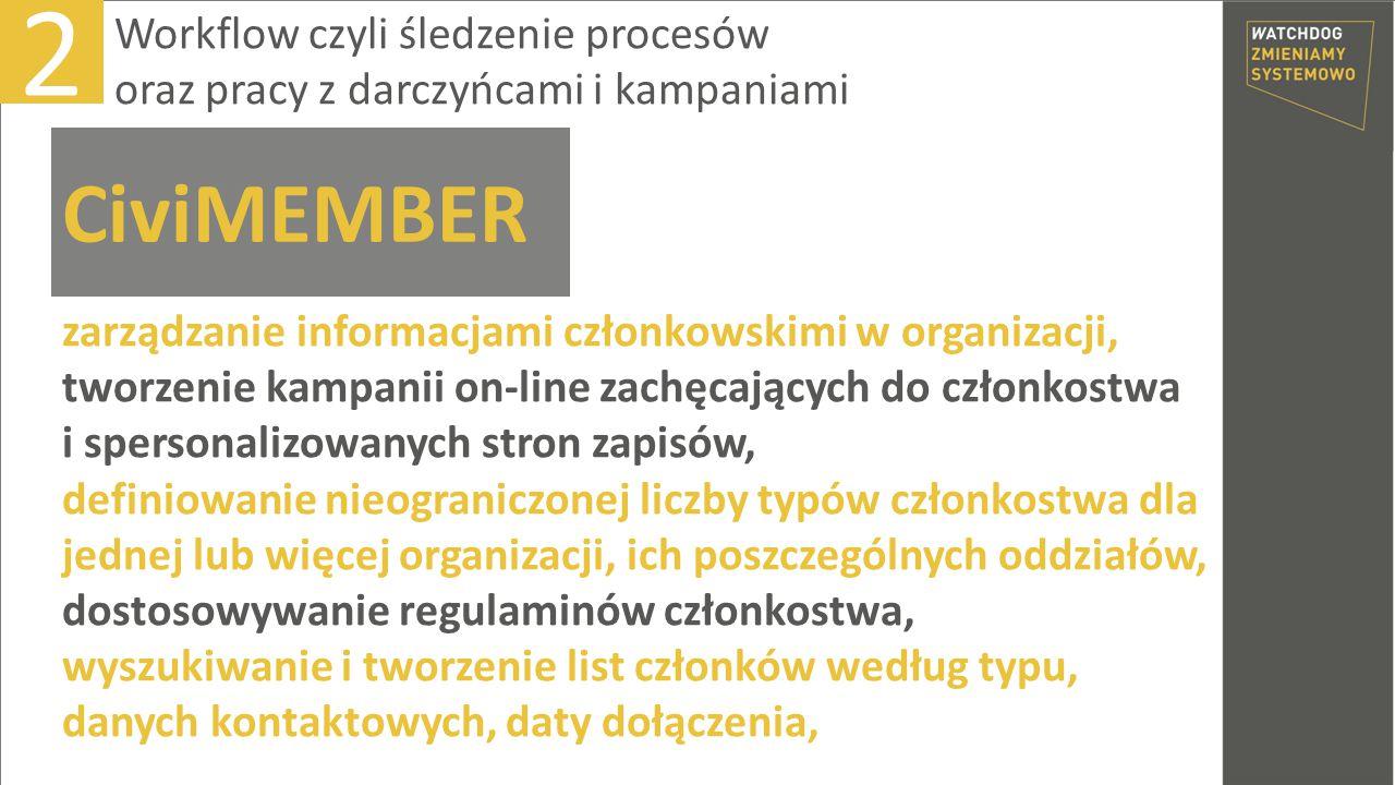 zarządzanie informacjami członkowskimi w organizacji, tworzenie kampanii on-line zachęcających do członkostwa i spersonalizowanych stron zapisów, defi