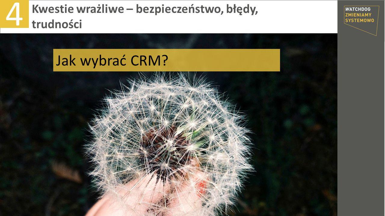 4 Kwestie wrażliwe – bezpieczeństwo, błędy, trudności Jak wybrać CRM?