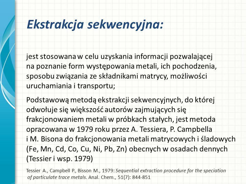 Ekstrakcja sekwencyjna: jest stosowana w celu uzyskania informacji pozwalającej na poznanie form występowania metali, ich pochodzenia, sposobu związan