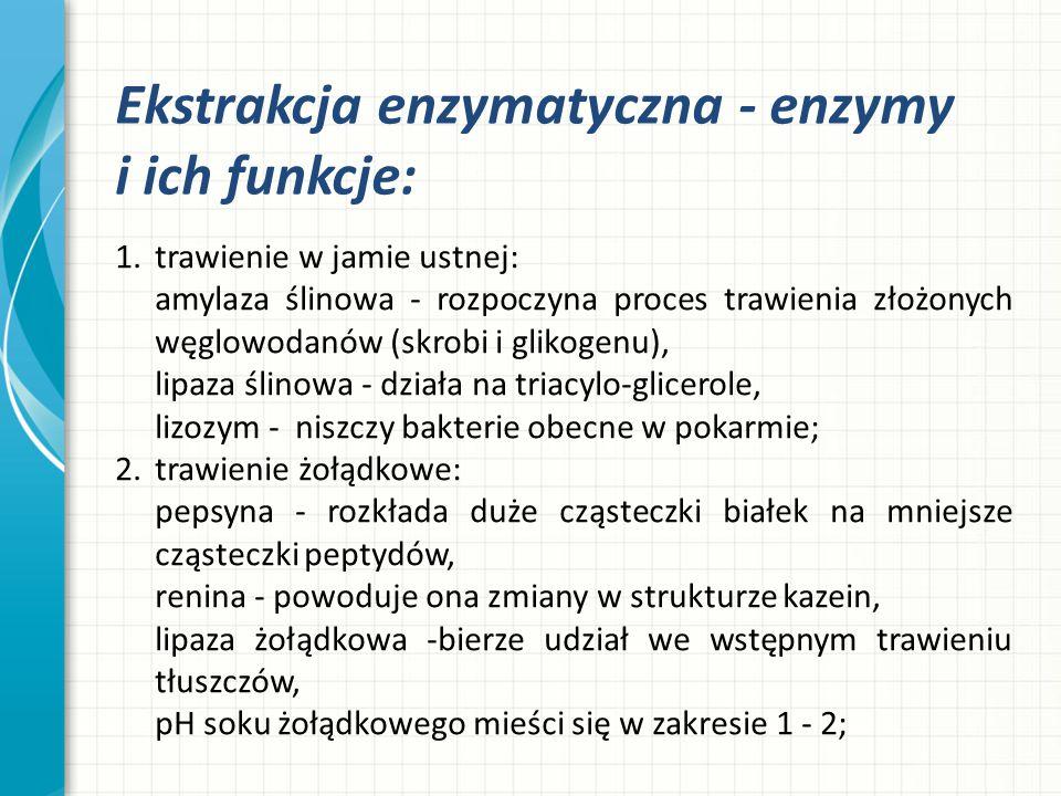 Ekstrakcja enzymatyczna - enzymy i ich funkcje: 1.trawienie w jamie ustnej: amylaza ślinowa - rozpoczyna proces trawienia złożonych węglowodanów (skro