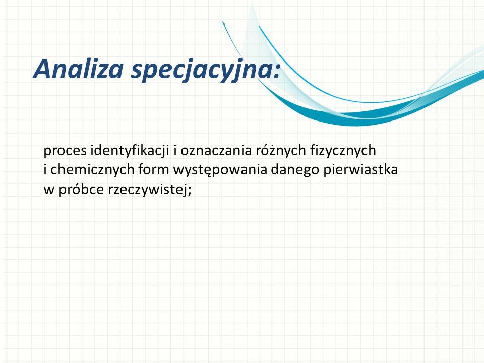 Analiza specjacyjna: proces identyfikacji i oznaczania różnych fizycznych i chemicznych form występowania danego pierwiastka w próbce rzeczywistej;