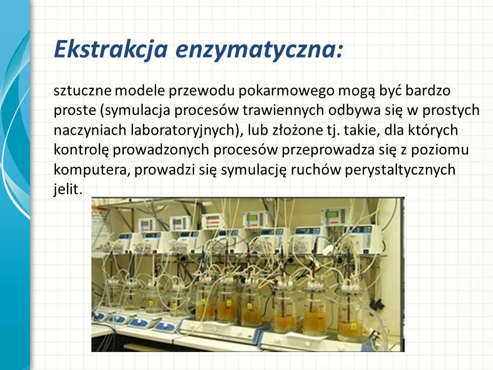 Ekstrakcja enzymatyczna: sztuczne modele przewodu pokarmowego mogą być bardzo proste (symulacja procesów trawiennych odbywa się w prostych naczyniach