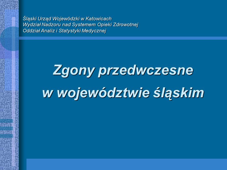 Śląski Urząd Wojewódzki w Katowicach Wydział Nadzoru nad Systemem Opieki Zdrowotnej Oddział Analiz i Statystyki Medycznej Zgony przedwczesne w województwie śląskim