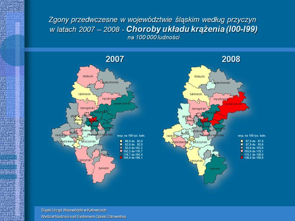Zgony przedwczesne w województwie śląskim według przyczyn w latach 2007 – 2008 - Choroby układu krążenia (I00-I99) na 100 000 ludności wsp.
