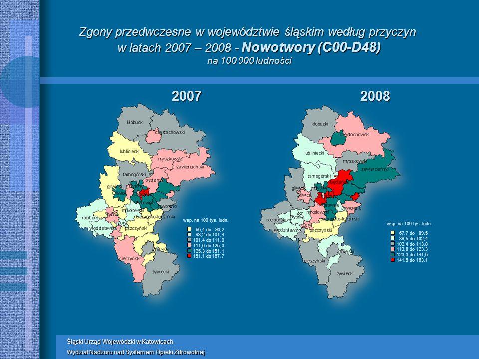 Zgony przedwczesne w województwie śląskim według przyczyn w latach 2007 – 2008 - Nowotwory (C00-D48) na 100 000 ludności wsp.