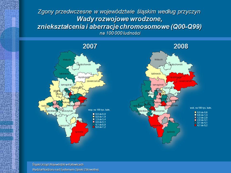 Śląski Urząd Wojewódzki w Katowicach Wydział Nadzoru nad Systemem Opieki Zdrowotnej Zgony przedwczesne w województwie śląskim według przyczyn Wady rozwojowe wrodzone, zniekształcenia i aberracje chromosomowe (Q00-Q99) na 100 000 ludności 20072008 wsp.