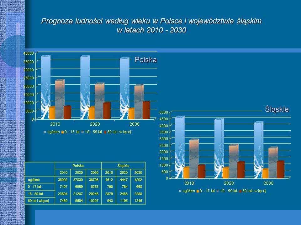 PolskaŚląskie 201020202030201020202030 ogółem380923783036796461244474202 0 - 17 lat710769596253790764668 18 - 59 lat235042126720246287924882288 60 lat i więcej748096041029794311951246 Prognoza ludności według wieku w Polsce i województwie śląskim w latach 2010 - 2030 Polska Śląskie