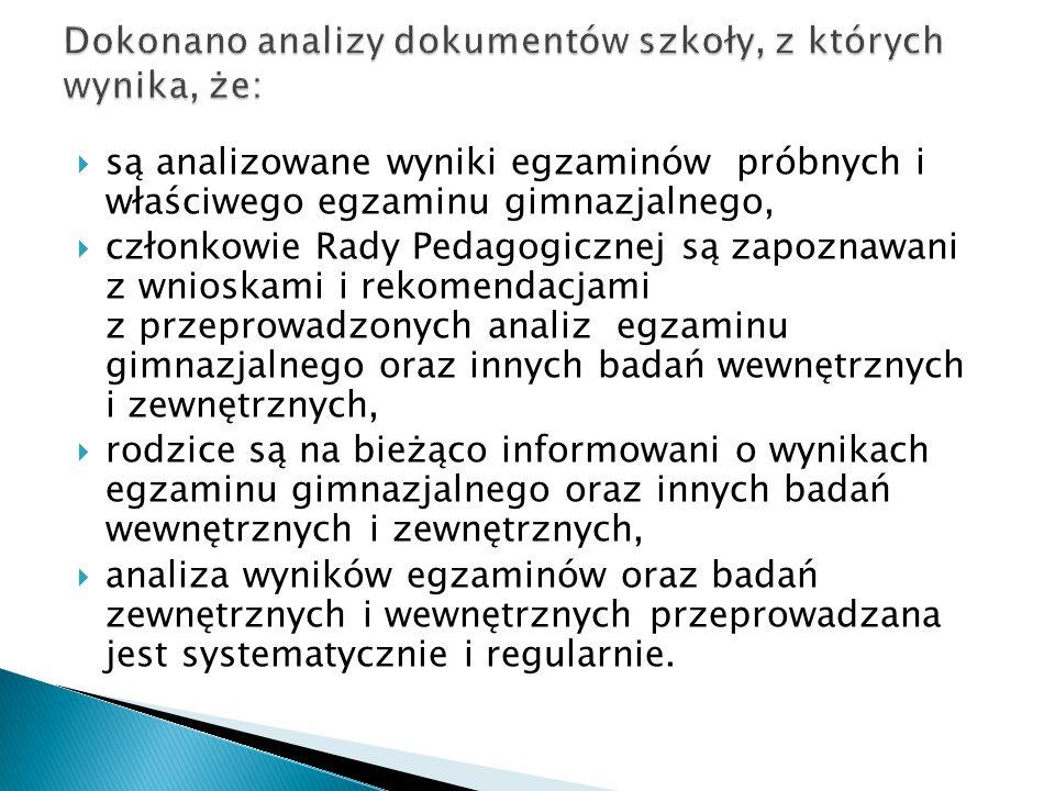  są analizowane wyniki egzaminów próbnych i właściwego egzaminu gimnazjalnego,  członkowie Rady Pedagogicznej są zapoznawani z wnioskami i rekomenda