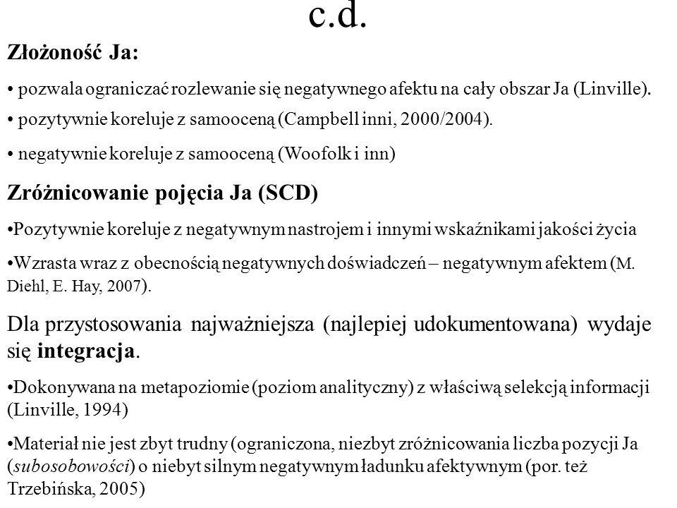 c.d. Złożoność Ja: pozwala ograniczać rozlewanie się negatywnego afektu na cały obszar Ja (Linville). pozytywnie koreluje z samooceną (Campbell inni,
