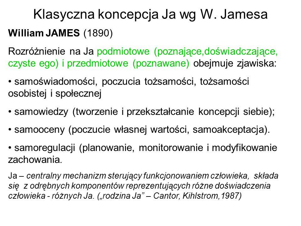 Klasyczna koncepcja Ja wg W. Jamesa William JAMES (1890) Rozróżnienie na Ja podmiotowe (poznające,doświadczające, czyste ego) i przedmiotowe (poznawan