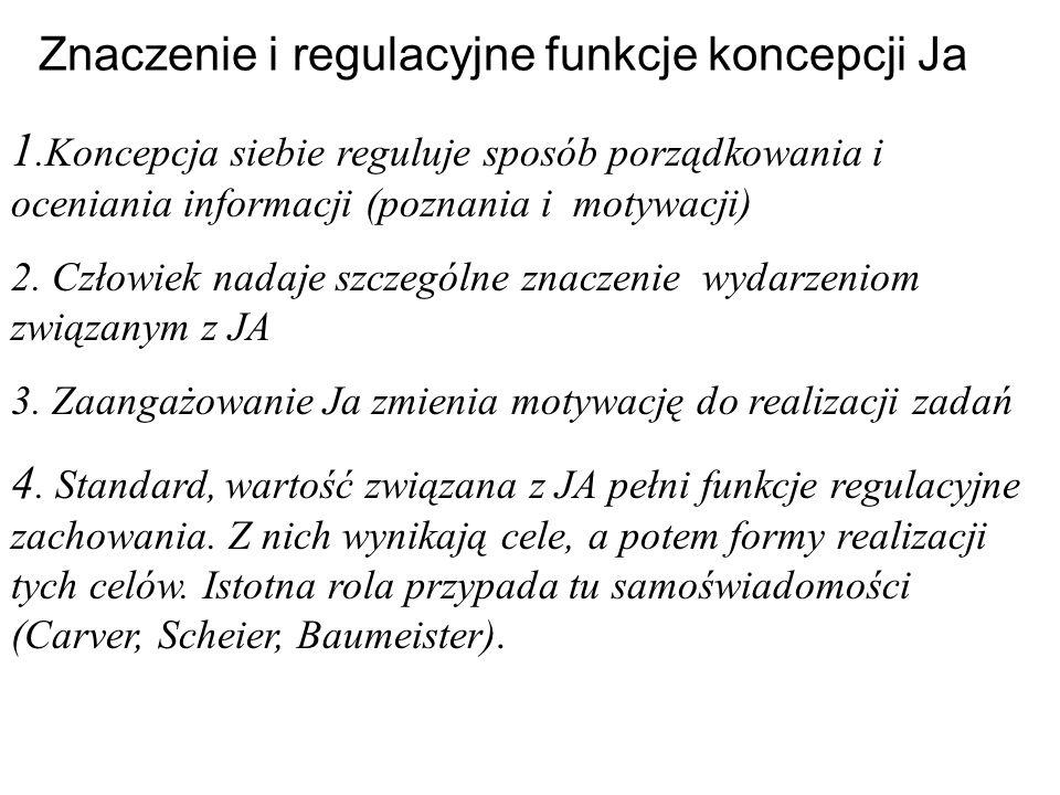 Znaczenie i regulacyjne funkcje koncepcji Ja 1.Koncepcja siebie reguluje sposób porządkowania i oceniania informacji (poznania i motywacji) 2. Człowie