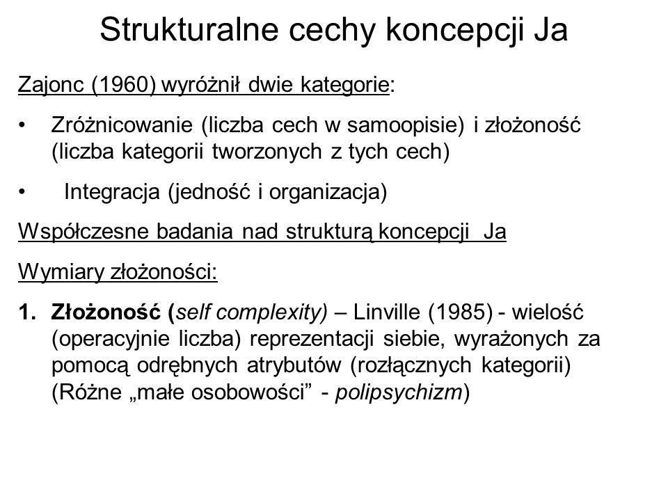 Strukturalne cechy koncepcji Ja Zajonc (1960) wyróżnił dwie kategorie: Zróżnicowanie (liczba cech w samoopisie) i złożoność (liczba kategorii tworzony