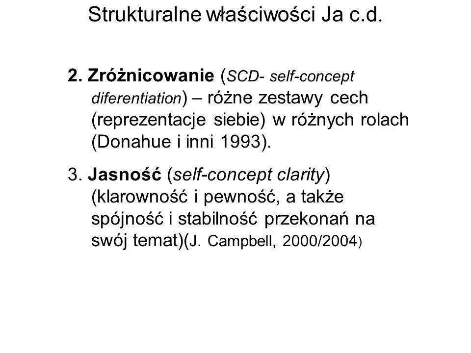 Strukturalne właściwości Ja c.d. 2. Zróżnicowanie ( SCD- self-concept diferentiation ) – różne zestawy cech (reprezentacje siebie) w różnych rolach (D