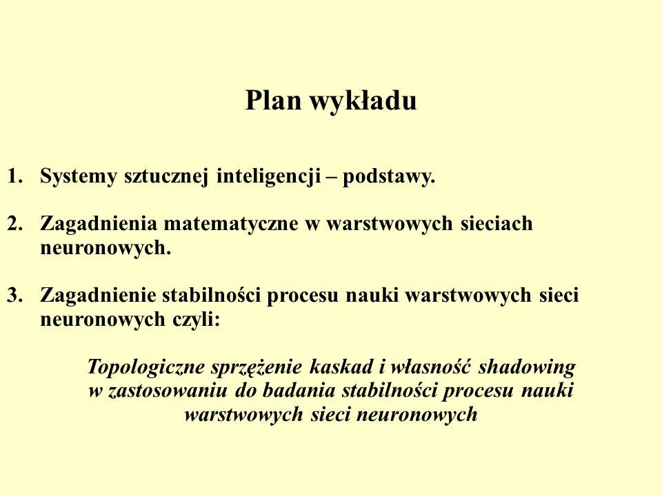 Plan wykładu 1.Systemy sztucznej inteligencji – podstawy. 2. Zagadnienia matematyczne w warstwowych sieciach neuronowych. 3.Zagadnienie stabilności pr