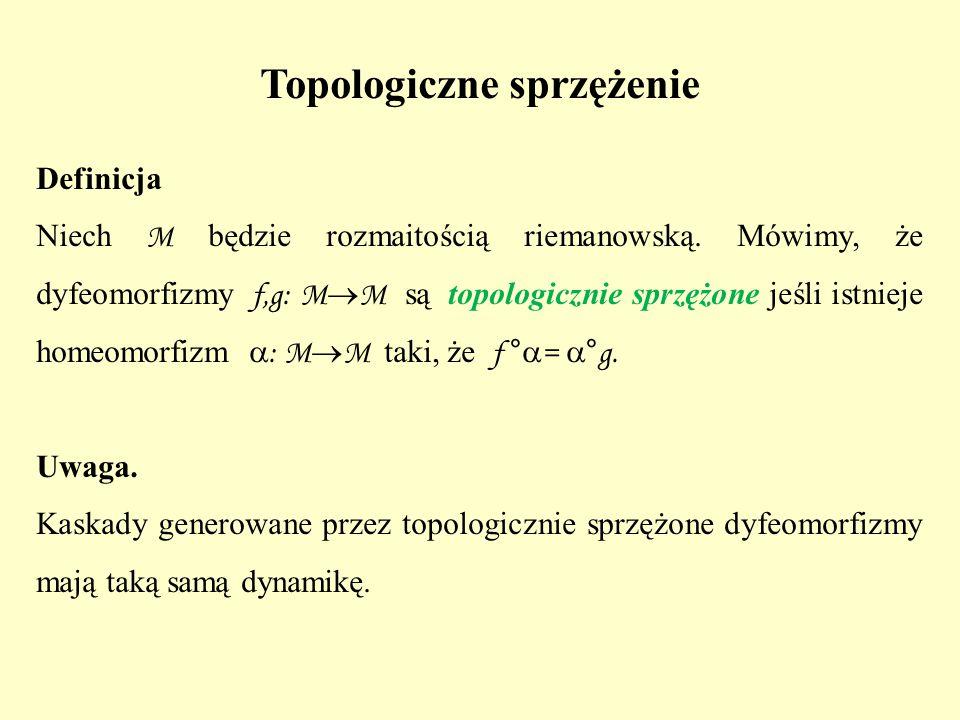 Topologiczne sprzężenie Definicja Niech M będzie rozmaitością riemanowską. Mówimy, że dyfeomorfizmy f,g: M  M są topologicznie sprzężone jeśli istnie