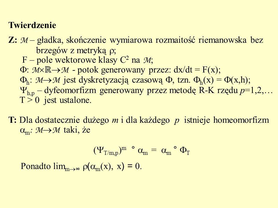 Twierdzenie Z: M – gładka, skończenie wymiarowa rozmaitość riemanowska bez brzegów z metryką  ; F – pole wektorowe klasy C 2 na M ;  : M  ℝ  M - potok generowany przez: dx/dt = F(x);  h : M  M jest dyskretyzacją czasową , tzn.