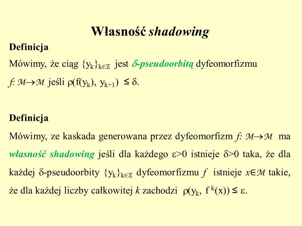 Własność shadowing Definicja Mówimy, że ciąg {y k } k ∈ℤ jest  -pseudoorbitą dyfeomorfizmu f: M  M jeśli  (f(y k ), y k+1 ) ≤ . Definicja Mówimy,