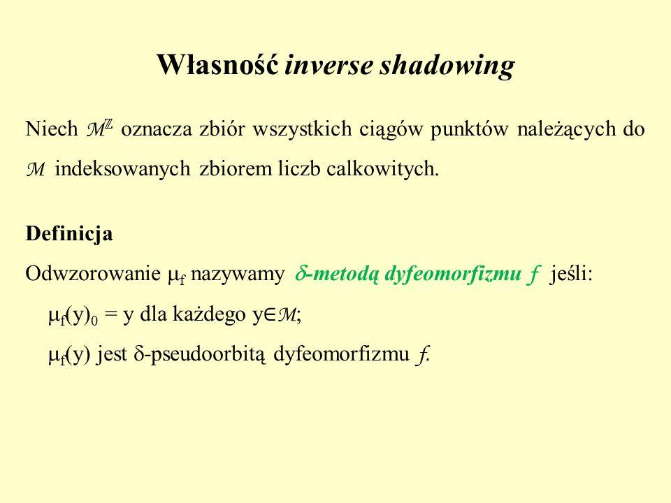 Własność inverse shadowing Niech M ℤ oznacza zbiór wszystkich ciągów punktów należących do M indeksowanych zbiorem liczb calkowitych. Definicja Odwzor