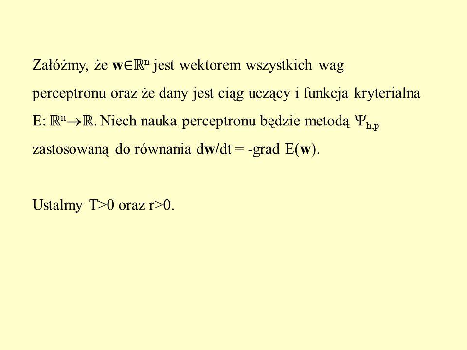 Załóżmy, że w ∈ℝ n jest wektorem wszystkich wag perceptronu oraz że dany jest ciąg uczący i funkcja kryterialna E: ℝ n  ℝ. Niech nauka perceptronu bę