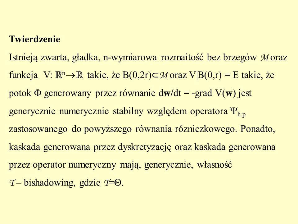 Twierdzenie Istnieją zwarta, gładka, n-wymiarowa rozmaitość bez brzegów M oraz funkcja V: ℝ n  ℝ takie, że B(0,2r) ⊂ M oraz V|B(0,r) = E takie, że potok  generowany przez równanie dw/dt = -grad V(w) jest generycznie numerycznie stabilny względem operatora  h,p zastosowanego do powyższego równania rózniczkowego.