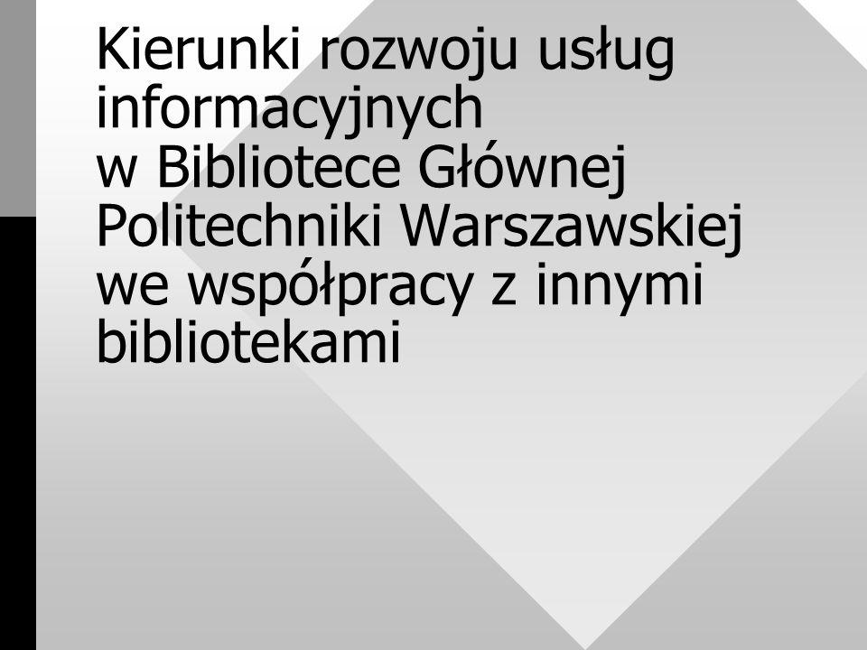 II - Wspólne katalogi (c.d.) Katalog czasopism obejmuje zbiory Biblioteki Głównej i Biblioteki Wydziału Chemicznego Katalog czasopism naukowych będzie (stopniowo) rozszerzany, tak by objąć nim wszystkie biblioteki Uczelni - niezależnie od tego, czy same prowadziły elektroniczne katalogi czasopism i czy używają system Aleph.
