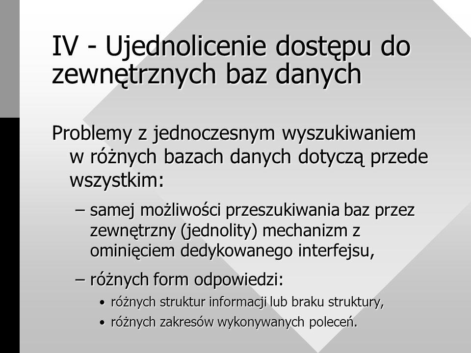 IV - Ujednolicenie dostępu do zewnętrznych baz danych Problemy z jednoczesnym wyszukiwaniem w różnych bazach danych dotyczą przede wszystkim: –samej możliwości przeszukiwania baz przez zewnętrzny (jednolity) mechanizm z ominięciem dedykowanego interfejsu, –różnych form odpowiedzi: różnych struktur informacji lub braku struktury,różnych struktur informacji lub braku struktury, różnych zakresów wykonywanych poleceń.różnych zakresów wykonywanych poleceń.
