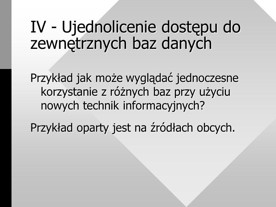 IV - Ujednolicenie dostępu do zewnętrznych baz danych Przykład jak może wyglądać jednoczesne korzystanie z różnych baz przy użyciu nowych technik informacyjnych.