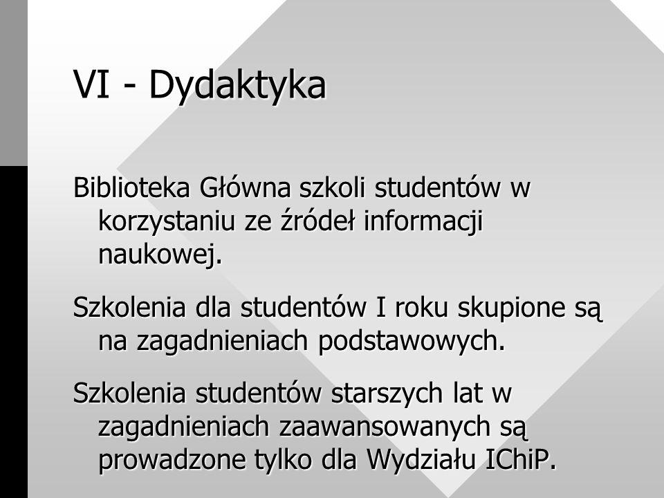 VI - Dydaktyka Biblioteka Główna szkoli studentów w korzystaniu ze źródeł informacji naukowej.