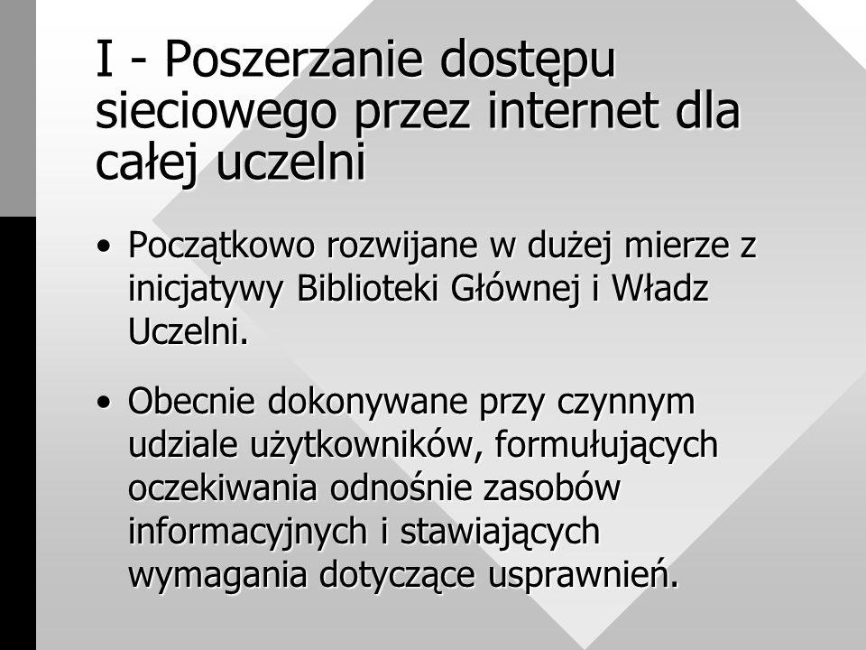 I - Poszerzanie dostępu sieciowego przez internet dla całej uczelni Początkowo rozwijane w dużej mierze z inicjatywy Biblioteki Głównej i Władz Uczelni.Początkowo rozwijane w dużej mierze z inicjatywy Biblioteki Głównej i Władz Uczelni.