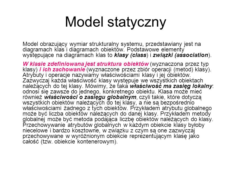 Model statyczny Model obrazujący wymiar strukturalny systemu, przedstawiany jest na diagramach klas i diagramach obiektów. Podstawowe elementy występu