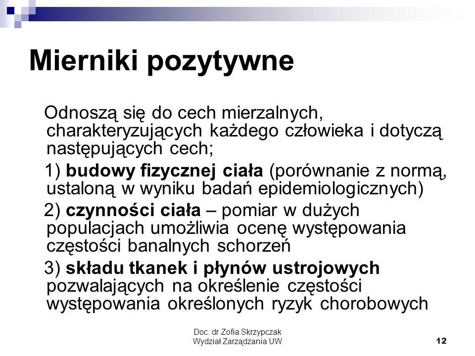 Doc. dr Zofia Skrzypczak Wydział Zarządzania UW12 Mierniki pozytywne Odnoszą się do cech mierzalnych, charakteryzujących każdego człowieka i dotyczą n