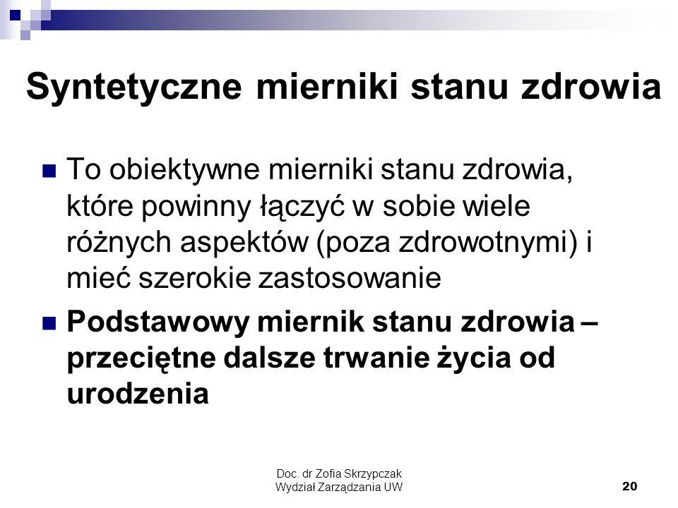 Doc. dr Zofia Skrzypczak Wydział Zarządzania UW20 Syntetyczne mierniki stanu zdrowia To obiektywne mierniki stanu zdrowia, które powinny łączyć w sobi
