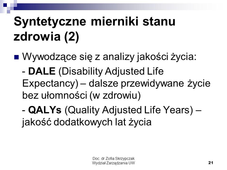 Doc. dr Zofia Skrzypczak Wydział Zarządzania UW21 Syntetyczne mierniki stanu zdrowia (2) Wywodzące się z analizy jakości życia: - DALE (Disability Adj