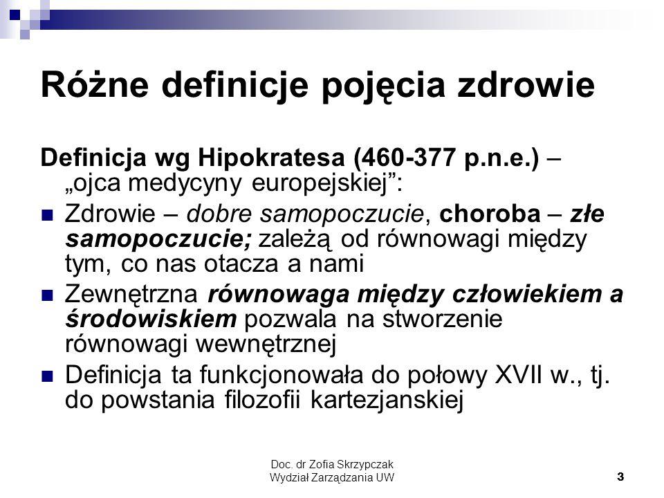 """Doc. dr Zofia Skrzypczak Wydział Zarządzania UW3 Różne definicje pojęcia zdrowie Definicja wg Hipokratesa (460-377 p.n.e.) – """"ojca medycyny europejski"""
