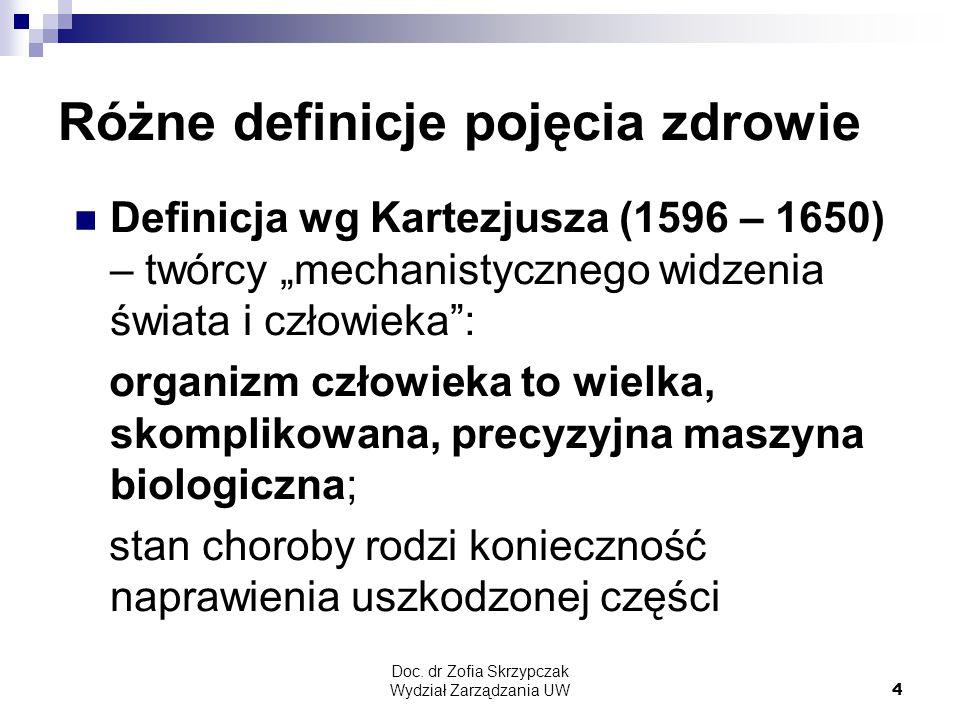 """Doc. dr Zofia Skrzypczak Wydział Zarządzania UW4 Różne definicje pojęcia zdrowie Definicja wg Kartezjusza (1596 – 1650) – twórcy """"mechanistycznego wid"""