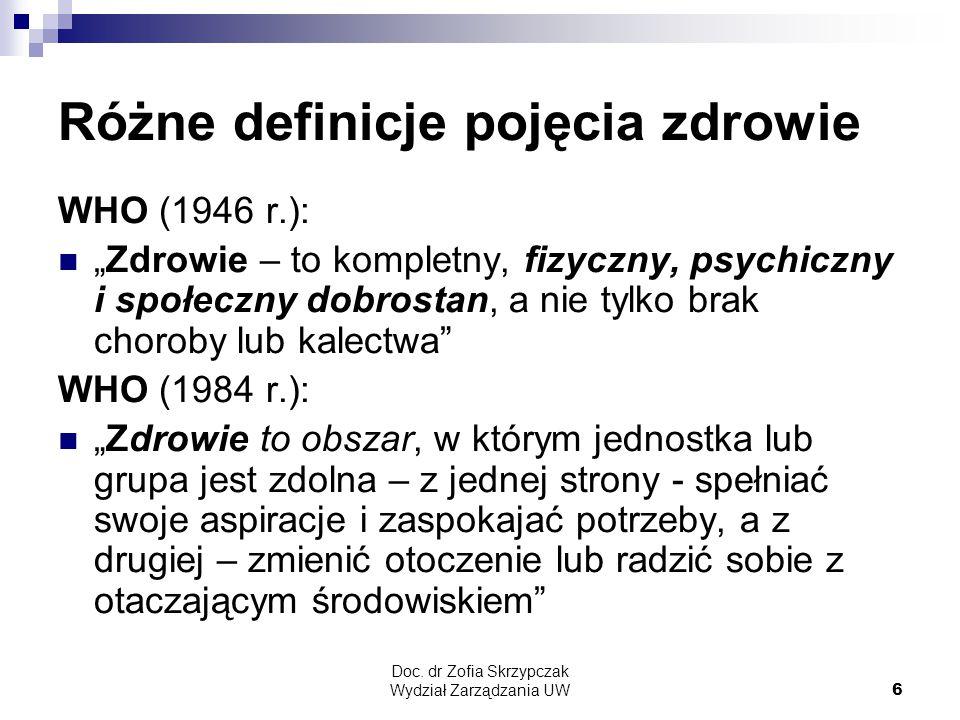"""Doc. dr Zofia Skrzypczak Wydział Zarządzania UW6 Różne definicje pojęcia zdrowie WHO (1946 r.): """"Zdrowie – to kompletny, fizyczny, psychiczny i społec"""