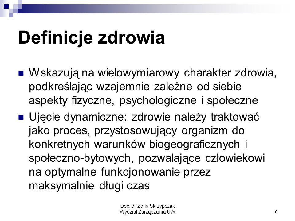 Doc. dr Zofia Skrzypczak Wydział Zarządzania UW7 Definicje zdrowia Wskazują na wielowymiarowy charakter zdrowia, podkreślając wzajemnie zależne od sie