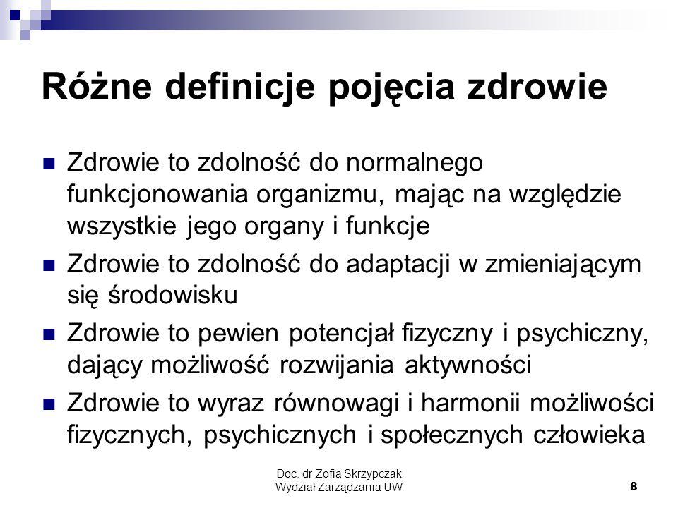 Doc. dr Zofia Skrzypczak Wydział Zarządzania UW8 Różne definicje pojęcia zdrowie Zdrowie to zdolność do normalnego funkcjonowania organizmu, mając na
