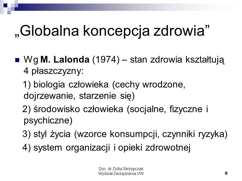 """Doc.dr Zofia Skrzypczak Wydział Zarządzania UW9 """"Globalna koncepcja zdrowia Wg M."""