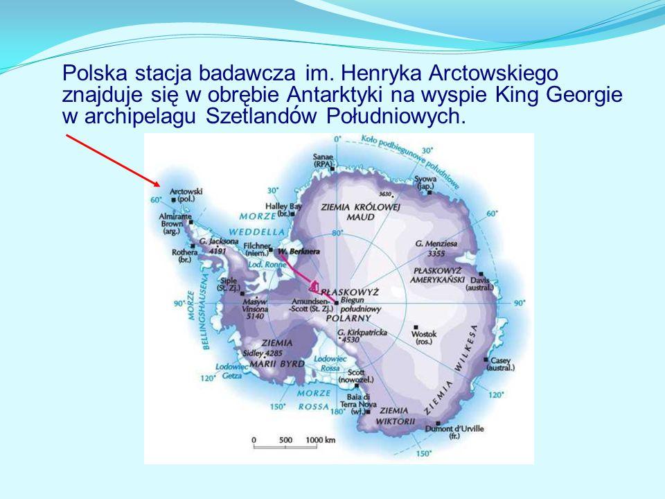 Polska stacja badawcza im. Henryka Arctowskiego znajduje się w obrębie Antarktyki na wyspie King Georgie w archipelagu Szetland ó w Południowych.