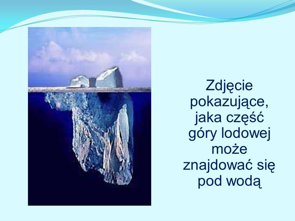 Zdjęcie pokazujące, jaka część góry lodowej może znajdować się pod wodą