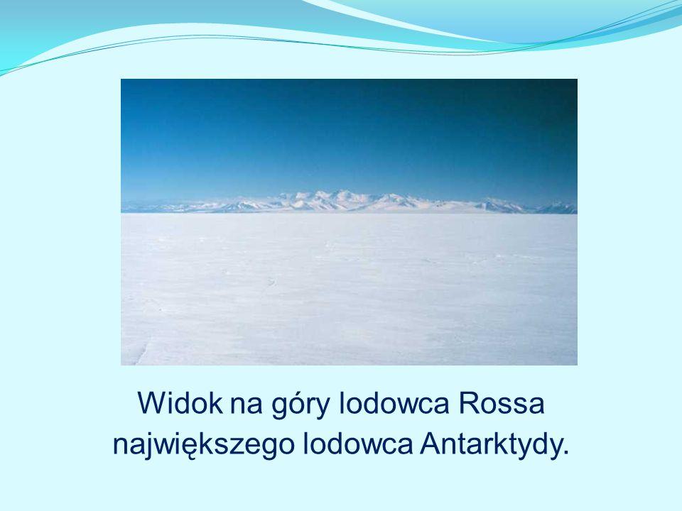 Widok na góry lodowca Rossa największego lodowca Antarktydy.