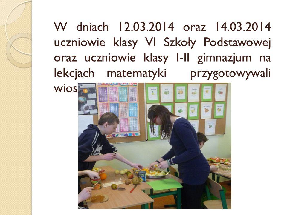 W dniach 12.03.2014 oraz 14.03.2014 uczniowie klasy VI Szkoły Podstawowej oraz uczniowie klasy I-II gimnazjum na lekcjach matematyki przygotowywali wi
