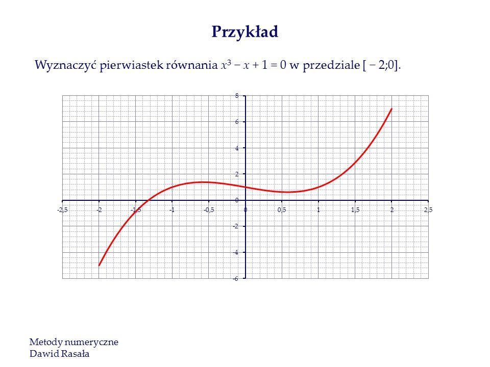 Wyznaczyć pierwiastek równania x 3 − x + 1 = 0 w przedziale [ − 2;0].