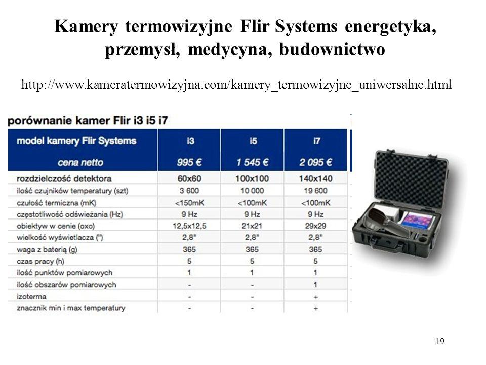 19 Kamery termowizyjne Flir Systems energetyka, przemysł, medycyna, budownictwo http://www.kameratermowizyjna.com/kamery_termowizyjne_uniwersalne.html